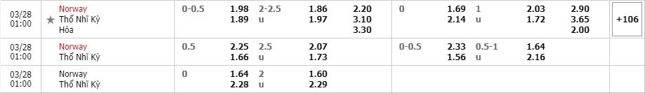 Tỷ lệ kèo Na Uy vs Thổ Nhĩ Kỳ